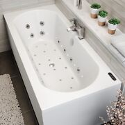 1800mm Double Ended Curved Whirlpool Bath Led Light Heater Ozonator Side Panel