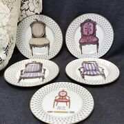 Set Of 5 -4 Fitz And Floyd Chair Chaise Retired Plates 8.25andrdquo -1 Limoges 1855