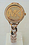 Ladies Outlets Rose Gold-tone Twist Chain Bracelet Watch - Mk3475