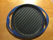 Le Creuset Blue Enameled Cast Iron 10 Round Grill Griddle Pan Skillet Cookware