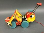 Fisher Price Very Rare Vintage All Wooden Kris Kricket Clicker Pull Toy 678