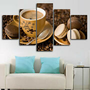 Coffee Cup Macaroons Cake 5 Panel Canvas Print Wall Art Poster Home Decoration