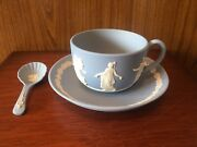 Wedgwood Blue Jasperware Dancing Hours Full Size Cup And Saucer With Spoon.