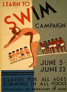 Learn To Swim Campaign Classes For All Ages Pools Vintage Poster Repro Free S/h