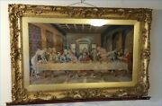 """Vintage Large Petit Point Tapestry """"the Last Supper"""" And Ornate Frame"""