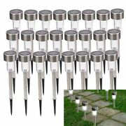 24 Pc Solar Power Led Outdoor Lights Stainless Steel Landscape Garden Lawn Path