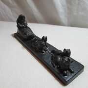 Vintage Collectible Carved Canadian Coal Inuit Eskimo Snow Dog Sled Figurine