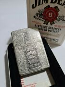 Zippo Windproof Collectible Antique Silver Plate Lighter Jim Beam 1999 New
