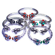 Wholesale Mixed Stone Coral 20pcs 8 Stones Bangles Silver Plated Fashion Jewelry