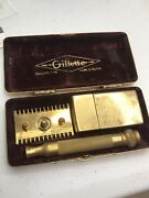 Gillette Antique Gold Old Safety Razor Open Comb Boxed