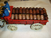 Vintage Cast Iron Beer Wagon And Clydesdale Horses, Kegs, Dog, Driver