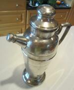Retro Chrome Plated Tall Cocktail Martini Pitcher Wlid And Pour Cap W/cork 13 Usa