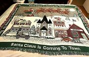 48x65 Christmas Couch Throw Cover Up Santa Claus Is Coming To Town