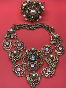 Rare Vintage Joseff Of Hollywood Stunning Necklace And Bracelet Set. Book Pieces
