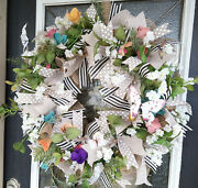 Floral Butterfly Spring Summer Front Door Wreath Welcome Home Decor Decoration