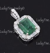 1.97ct 14k White Gold Colombian Emerald And Natural Diamond Pendant May Birthstone