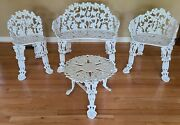 Vintage Cast Iron Victorian Grape And Leaf Garden Bench, 2 Chairs And Table