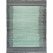 9and0393x12and0391 Hand Woven Light Green Flat Weave Kilim Reversible Wool Rug G60022