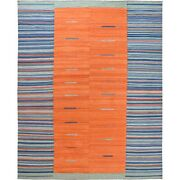 12and0394x15and039 Wool Sunburst And Stripes Design Flat Weave Kilim Handwoven Rug G60051