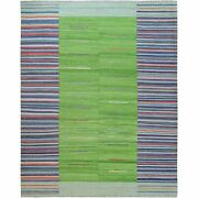 12and0393x15and0391 Flat Weave Kilim Stripe Design Wool Hand Woven Reversible Rug G60098