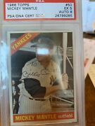 Mickey Mantle Signed 1966 Topps 50 Baseball Card Psa 5 And Psa/dna Auto 8 Dual