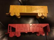 Lot Of 2 Vintage Pull Toy Yellow Flash Line And Fire Ball Freight Cars As Is