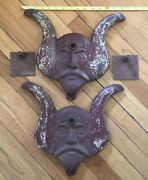 Pair Of Antique Cast Iron Viking Heads Ornament Excellentheavylarge