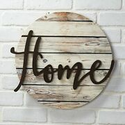Home Wall Plaque With Farmhouse Embellishments - Sentiment Word Art Sign