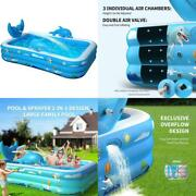 Inflatable Pool For Kids Family Kiddie Above Ground Swimming Pool With Splash