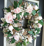 Xl Spring Summer Pink Peony Floral Deco Mesh Front Door Wreath Home Decoration