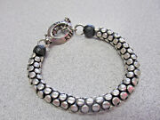 King Baby Sterling Silver Bracelet With Leather Balls 9.25 Inch Heavy Duty