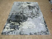 9 X 12and0393 Hand Knotted Black Gray Modern Abstract Oriental Rug With Silk G9081