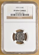1971 S Proof Roosevelt Dime Ngc Pf 69 Star Cameo