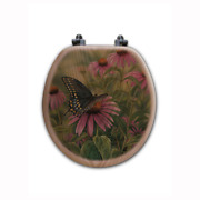 Black Swallowtail Butterfly Round Closed Front Wood Toilet Seat In Oak Brown