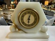 Antique Hammond /whitehall Classic Brown Marble Synchronous Electric Desk Clock.