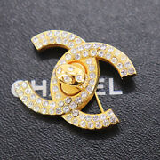 Cc Logos Rhinestone Brooch Gold 96a Vintage France Authentic Ad360 S