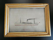 Antique Chinese Silk Embroidery Picturesteamship Mongolia19thc