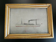 Antique Chinese Silk Embroidery Picture,steamship Mongolia,19thc