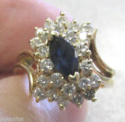 Marquise Cut Blue Sapphire And Diamond Ring 14k Gold Size 5-1/2 Make Offer