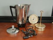 Vintage Electric Chrome Coffee Percolator Mid-century 9 Cup Made By Presto