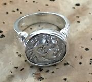 Treasure Coin Authentic Ancient Greek Alexander The Great Zeus Ring Sterling