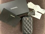 Authentic Iridescent Black Caviar Wallet On Chain Woc-clutch Phone Holder