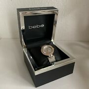 New Bebe Watches Crystal 3 Sub Dials Wristwatch Silver Gold 2 Tone Roman Numeral