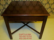 Drexel End Table Carleton Cherry Chipendale Square Pull Out Serving Ledge