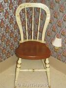 Ethan Allen Stenciled Chair White And Maple Hand Decorated Farmhouse Side 14 6301