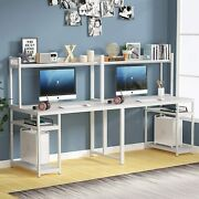 94.5 White Computer Desk Extra Long Two Person Desk With Storage Shelves Vu
