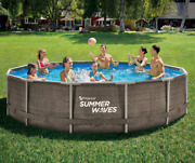 Summer Waves 14and039x36 Wicker Print Metal Frame Pool And Filter Pump - Same Day Ship