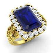 Real 14k Yellow Gold Ring 3.1ct Natural Diamond Blue Sapphire Gemstone Ring Sale