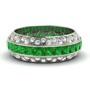 Real 14k White Gold 3.5ct Real Diamond Emerald Gemstone Rings Christmas Sale __