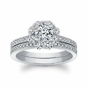 1.26 Ct Diamond Engagement Rings Sets 14kt White Gold Brilliant Round Size 6 7 8